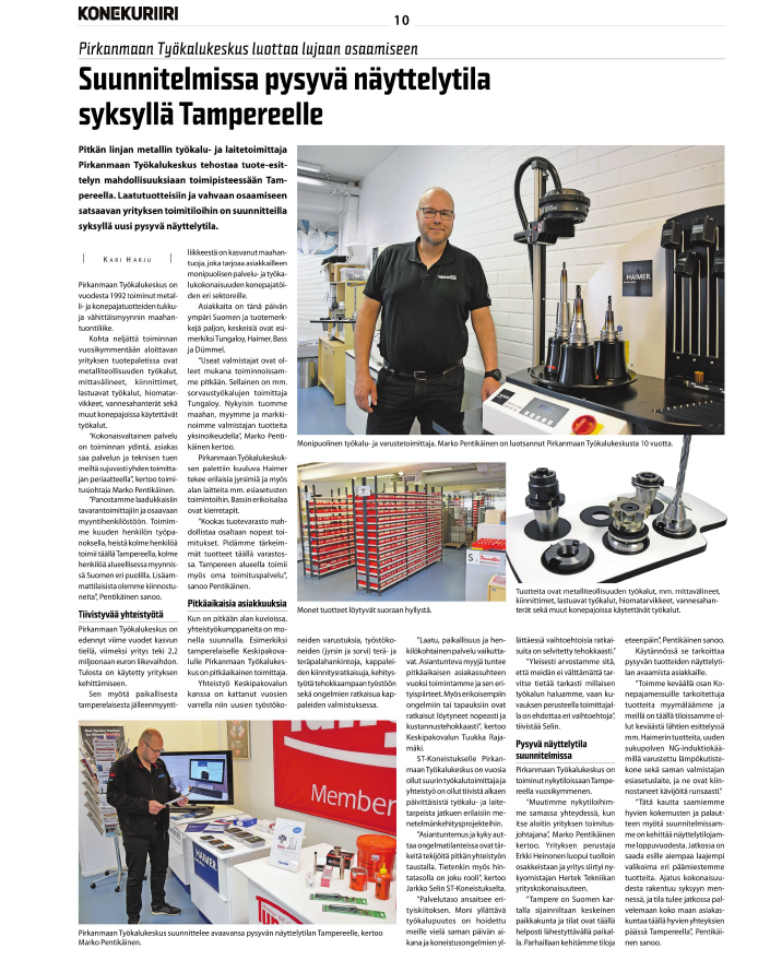 Pirkanmaan Työkalukeskus trusts in extensive know-how and is planning a permanent showroom in Tampere